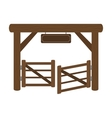 Paddock gate icon in cartoon style isolated on vector image