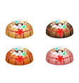 bundt cake topped with sugar glaze and easter eggs vector image vector image