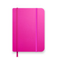 realistic pink notebook with elastic band and vector image