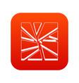 broken glass icon digital red vector image