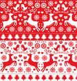 Christmas seamless folk pattern with reindeer vector image vector image