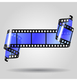 Curled blue film strip vector image
