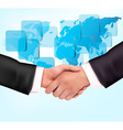 handshake with map vector image vector image