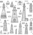 Boho style ethnic ornate lighthouses seamless vector image