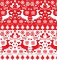 Christmas seamless folk pattern with reindeer vector image