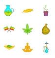Hemp icons set cartoon style vector image
