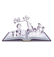Open book tale of Pinocchio vector image