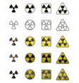 set of icons with sign of radiation collection of vector image