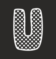 U alphabet letter with white polka dots on black vector image