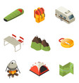 isometric camping icons collection vector image