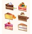 Cartoon cake pieces vector image