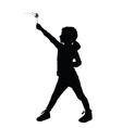 child holding dandelion silhouette vector image