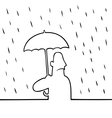 Man with umbrella in rain vector image vector image