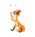 flat cartoon cheerful fox character dancing vector image