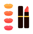 Lipstick tube with colorful lips swatches vector image