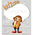 Paper template with monkey and toys vector image
