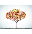 Rainbow Button Background Tree vector image