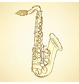 Sketch saxophone musical instrument vector image