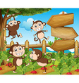 Garden scene with monkeys and signs vector image vector image