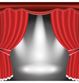 Theater stage with open red curtain and spotlight vector image vector image