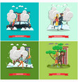 set of weather concept posters in flat vector image