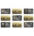 Winner voucher set in golden and silver colors vector image