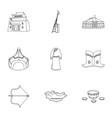 mongolian national characteristics icons set vector image vector image