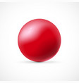 Red glossy sphere isolated on white background vector image