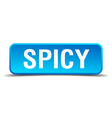 Spicy blue 3d realistic square isolated button vector image