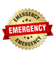 emergency 3d gold badge with red ribbon vector image