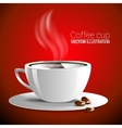white cup of fragrant hot coffee on a red vector image