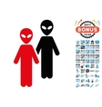 Aliens Icon with 2017 Year Bonus Pictograms vector image