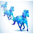 Blue abstract horse of geometric shapes vector image