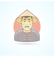 Chinese man in traditional cloth icon vector image