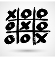 Close up of tic tac toe XO game in grunge style vector image