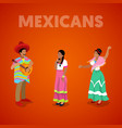 isometric mexican people in traditional clothes vector image