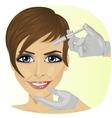 Woman having botox treatment at beauty clinic vector image