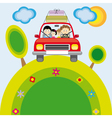 Family traveling by car vector image
