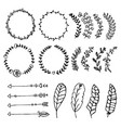 collection of hand drawn design elements sketch vector image