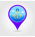 Anchor pin map icon Summer Vacation vector image