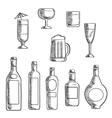 Bottles and glasses of alcohol beverages sketch vector image