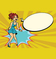 pop art retro woman shouts with joy positive vector image