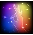 Neon Hand OK vector image