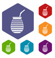 tea cup used mate or terere in argentina icons set vector image