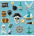 Set of stickers and objects on pirate theme vector image