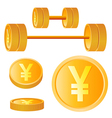 Dumbbell of golden discs with yen vector image
