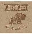 Western vintage label with bison vector image vector image