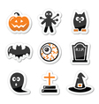Halloween black icons set as labels Vector Image