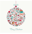christmas and new year doodle icon decoration vector image