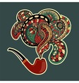 Pipe with ornate floral smoke vector image